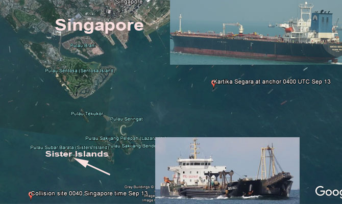 Dredger sank after collision with tanker, 5 missing, Singapore