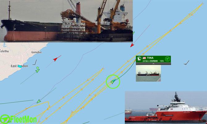 Bulk carrier troubled in Atlantic, taken on tow in Indian ocean