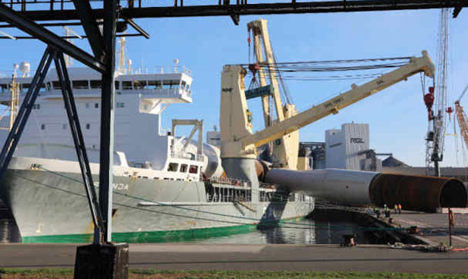 Wind turbine tower collapsed onto ship and pier, Rostock