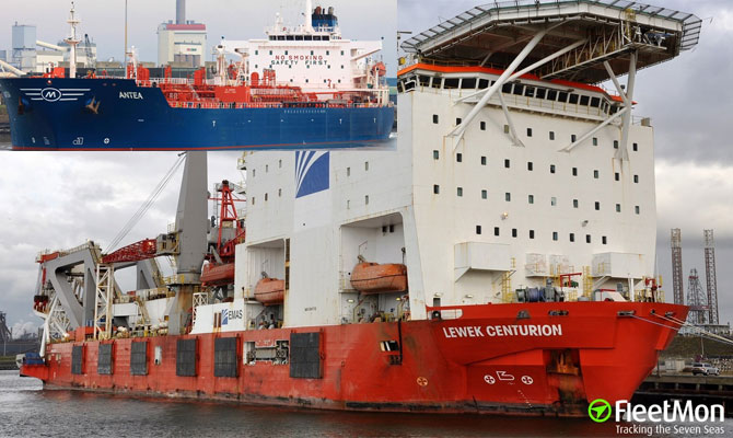 Pipe layer abandoned after collision with Chemical tanker off