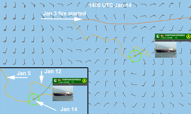 Container ship YANTIAN EXPRESS on fire in North Atlantic Chronology