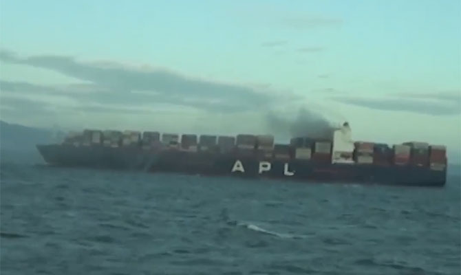 APL VANCOUVER, Panamax, container, ship, fire, South China sea