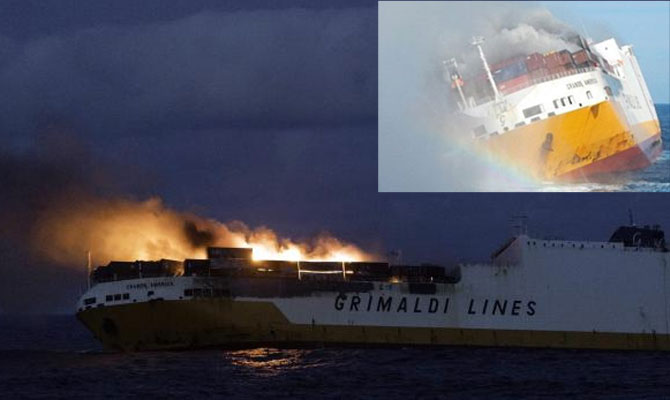 Ro-ro cargo ship GRANDE AMERICA capsized and sank in Bay of Biscay