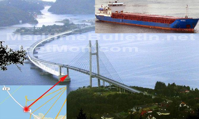 Cargo ship collided with bridge in Salhusfjorden, Norway