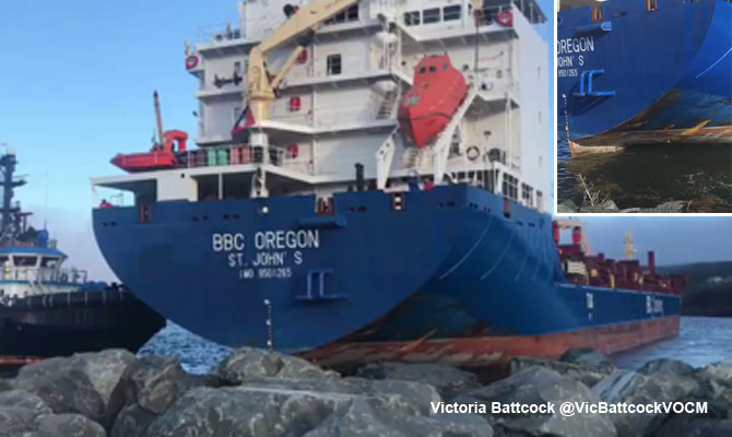 General cargo ship BBC OREGON grounding, Newfoundland