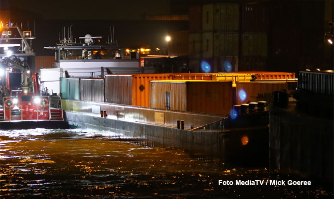 Inland container ship breached in collision in Netherlands