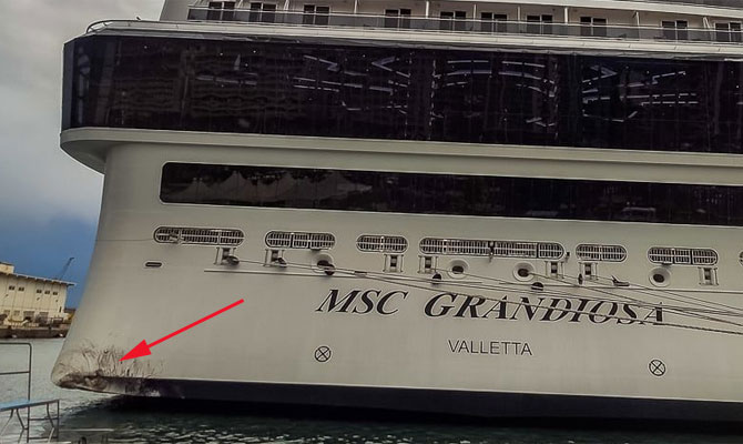Brand new MSC GRANDIOSA damaged in pier contact, Palermo ...
